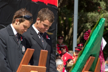 Chas Matthews and Tyler Matthews representing the rangitahi of 28 Battalion