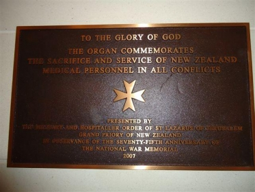 Sign marking the donation of the Memorial Organ