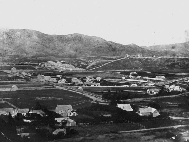 1858 view of te aro showing mount cook barracks