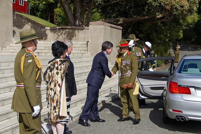 "Minister Finlayson greeting the Governor-General of New Zealand<p class=""detail-small"">Ministry for Culture and Heritage</p>"