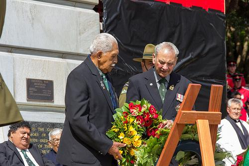 """Te Puhi Pātara and Robert Gillies representing the B Company<p class=""""detail-small"""">Ministry for Culture and Heritage</p>"""