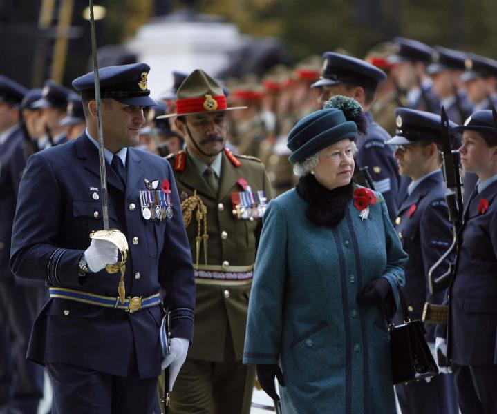 "Her Majesty Queen Elizabeth II inspecting New Zealand troops<p class=""detail-small"">Image courtesy of Kent Gavin Associates</p>"