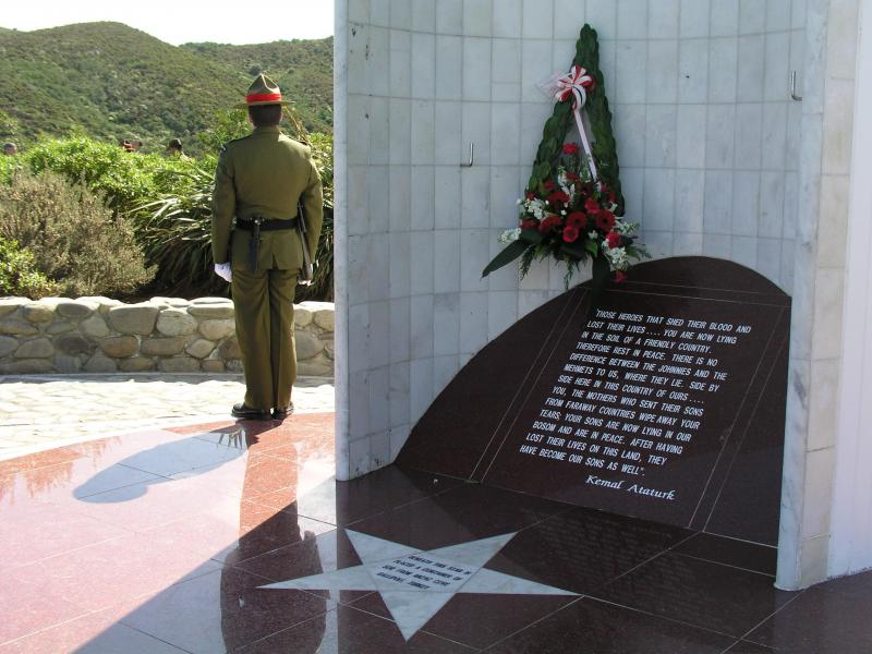 "Wreath presented at the Memorial<p class=""detail-small"">Image courtesy of the New Zealand Defence Force</p>"