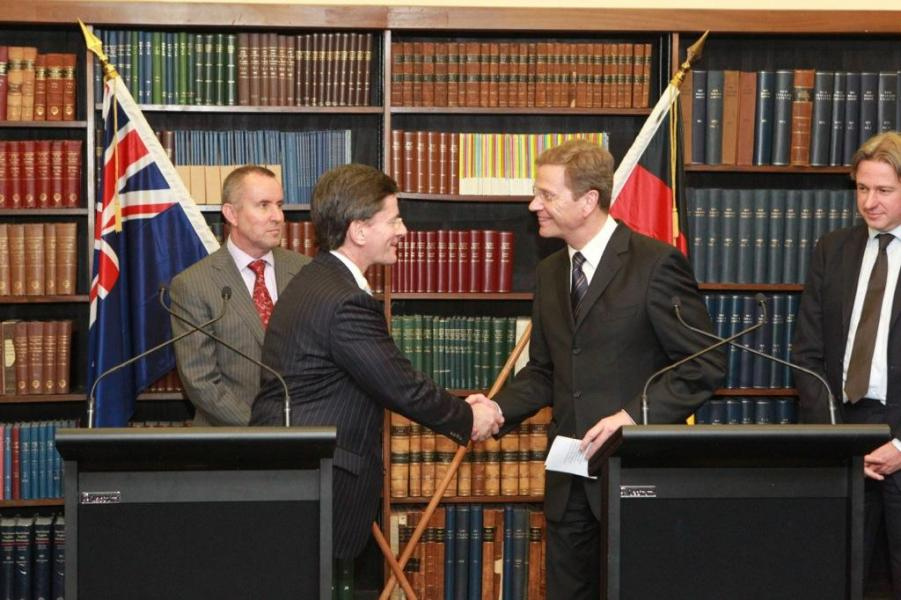 "Christopher Finlayson and Dr Guido Westerwelle<p class=""detail-small"">Image courtesy of Grahame Cox</p>"