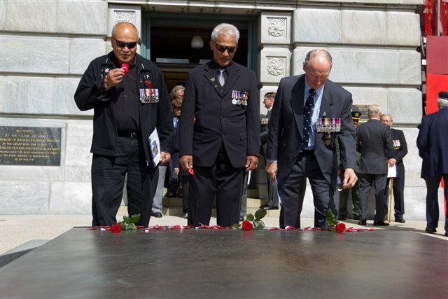 "Veterans alongside the Tomb of the Unknown Warrior<p class=""detail-small"">Ministry for Culture and Heritage</p>"