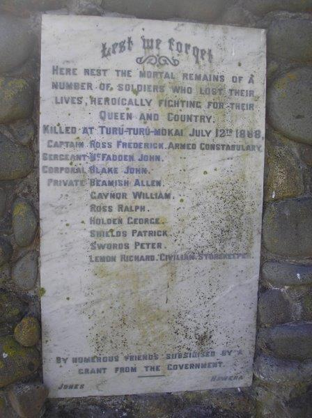 "Armed Constabulary monument at  the Waihi Redoubt & Cemetery<p class=""detail-small"">Image is courtesy of Pam Childs</p>"