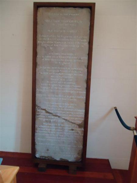 """William Wakefield's original headstone inside Bolton Street Chapel<p class=""""detail-small"""">Ministry for Culture and Heritage</p>"""